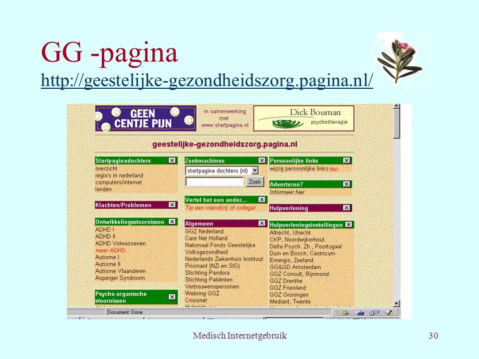 GG -pagina http://geestelijke-gezondheidszorg.pagina.nl/