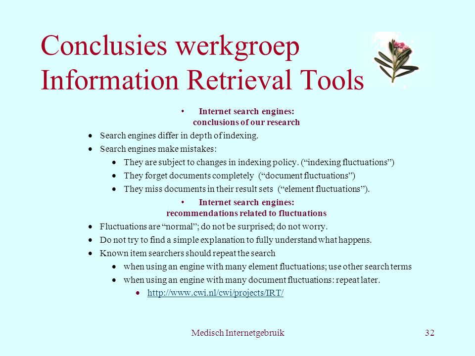 Conclusies werkgroep Information Retrieval Tools