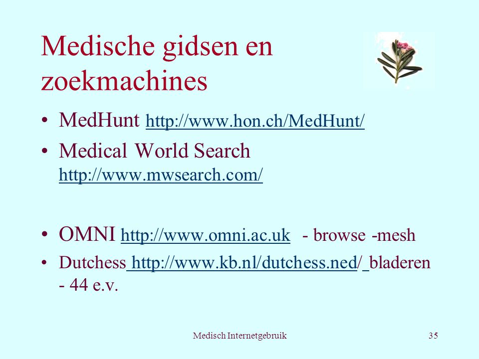 Medische gidsen en zoekmachines
