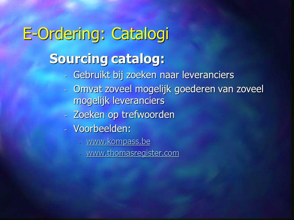 E-Ordering: Catalogi Sourcing catalog: