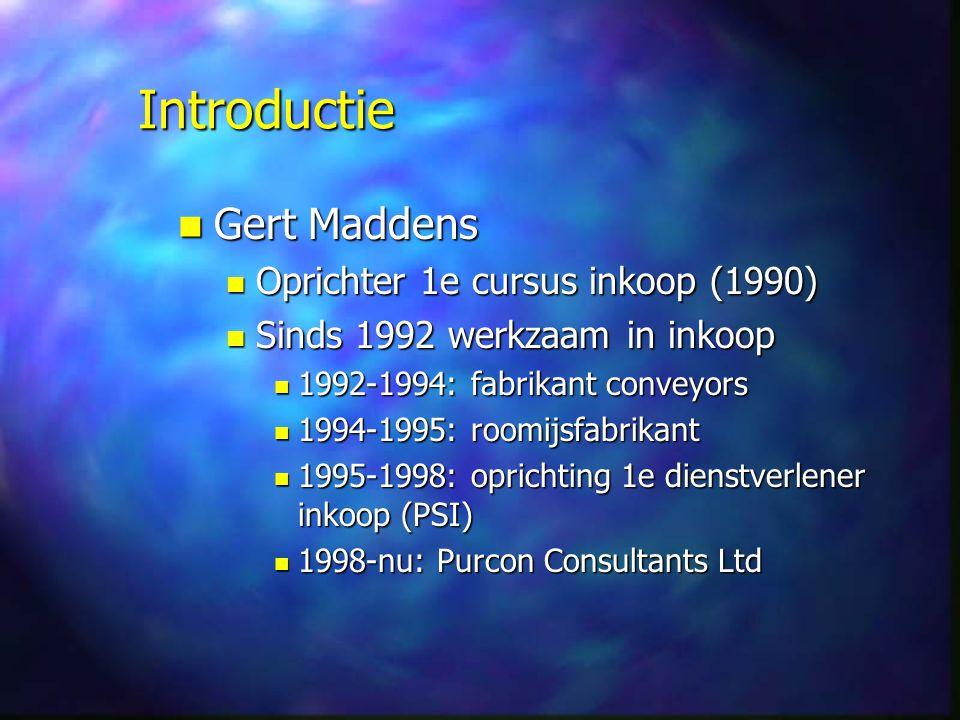 Introductie Gert Maddens Oprichter 1e cursus inkoop (1990)