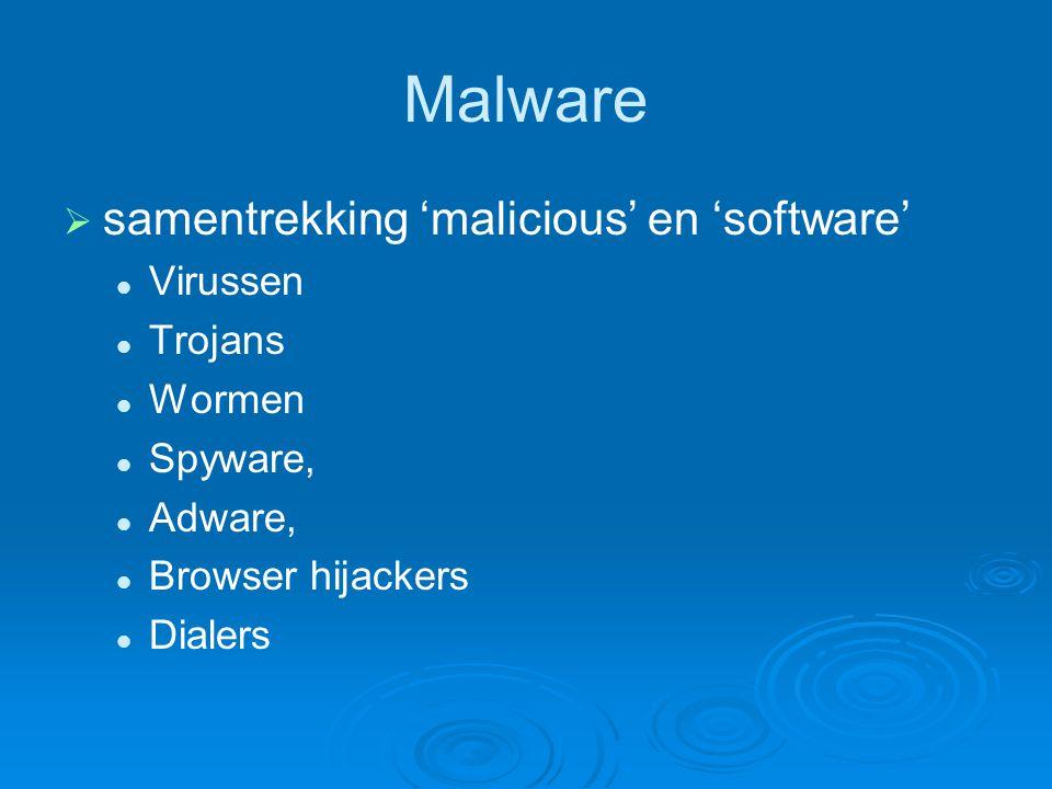 Malware samentrekking 'malicious' en 'software' Virussen Trojans