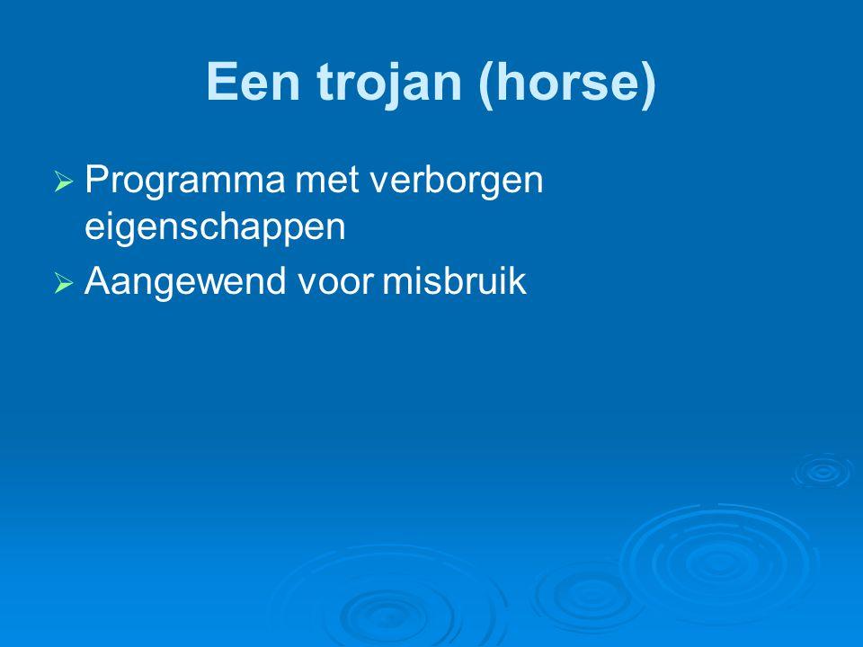 Een trojan (horse) Programma met verborgen eigenschappen