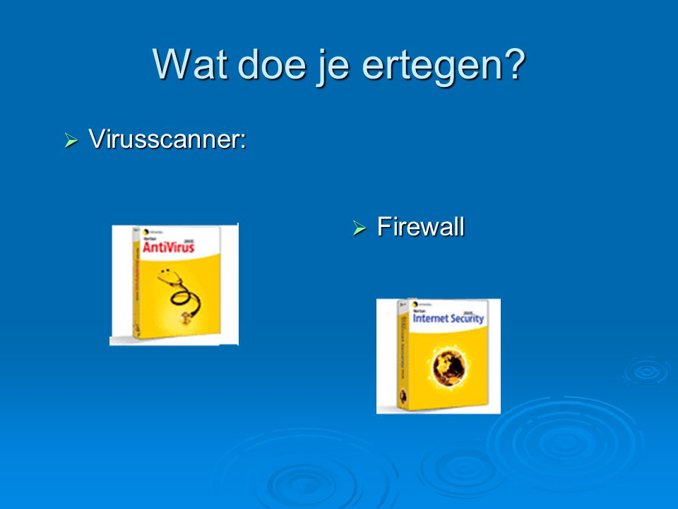 Wat doe je ertegen Virusscanner: Firewall