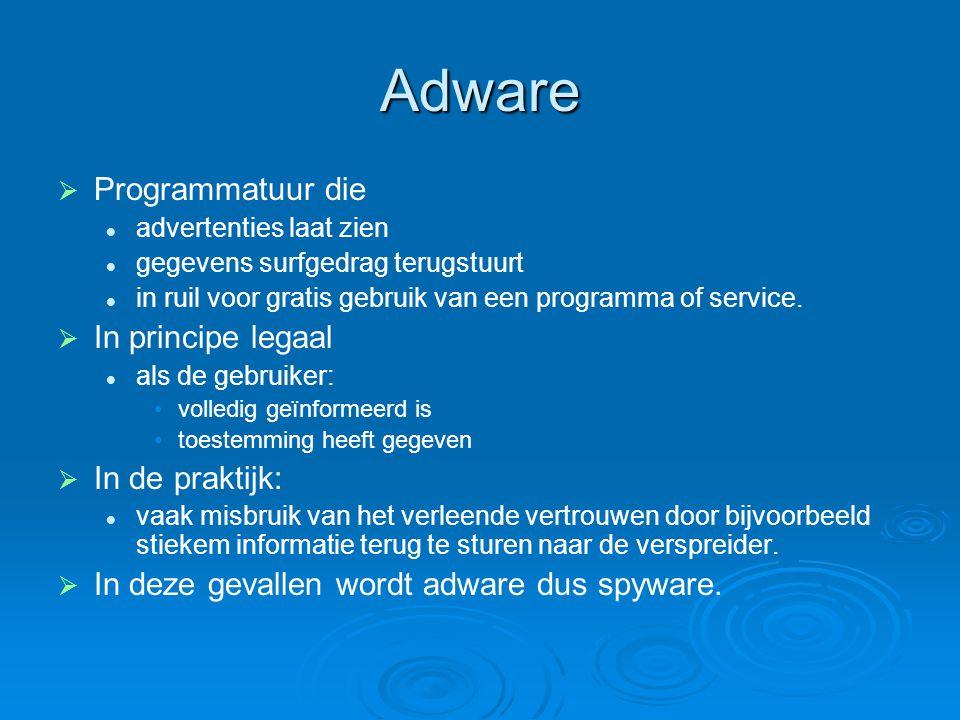 Adware Programmatuur die In principe legaal In de praktijk: