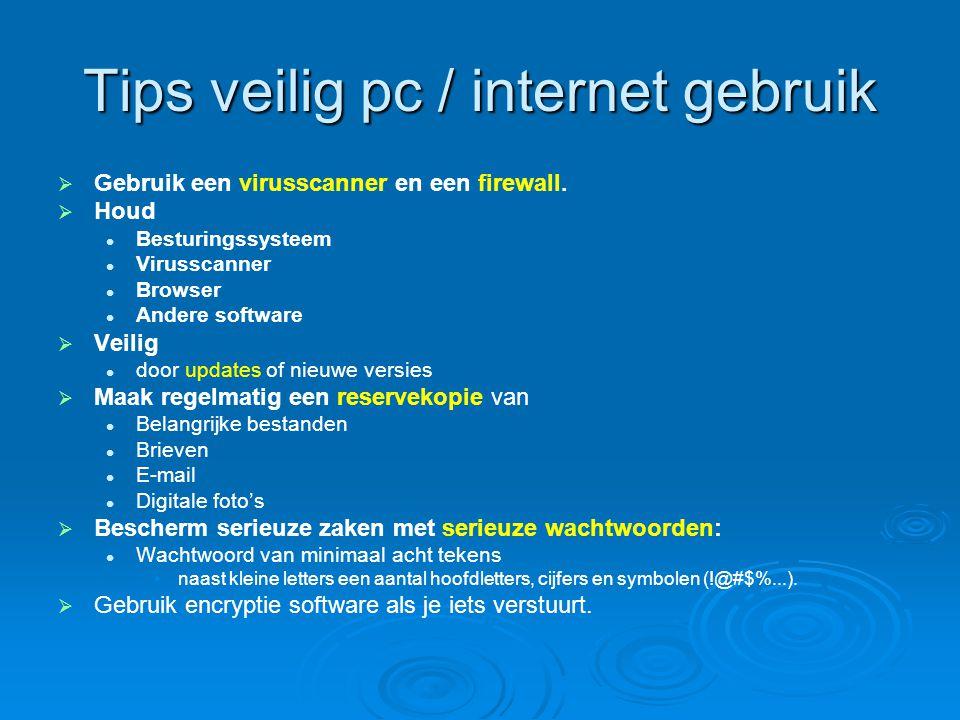 Tips veilig pc / internet gebruik