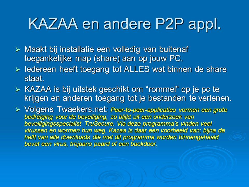 KAZAA en andere P2P appl. Maakt bij installatie een volledig van buitenaf toegankelijke map (share) aan op jouw PC.