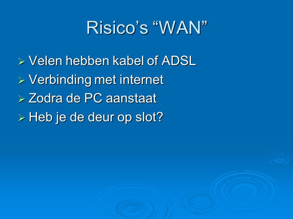 Risico's WAN Velen hebben kabel of ADSL Verbinding met internet