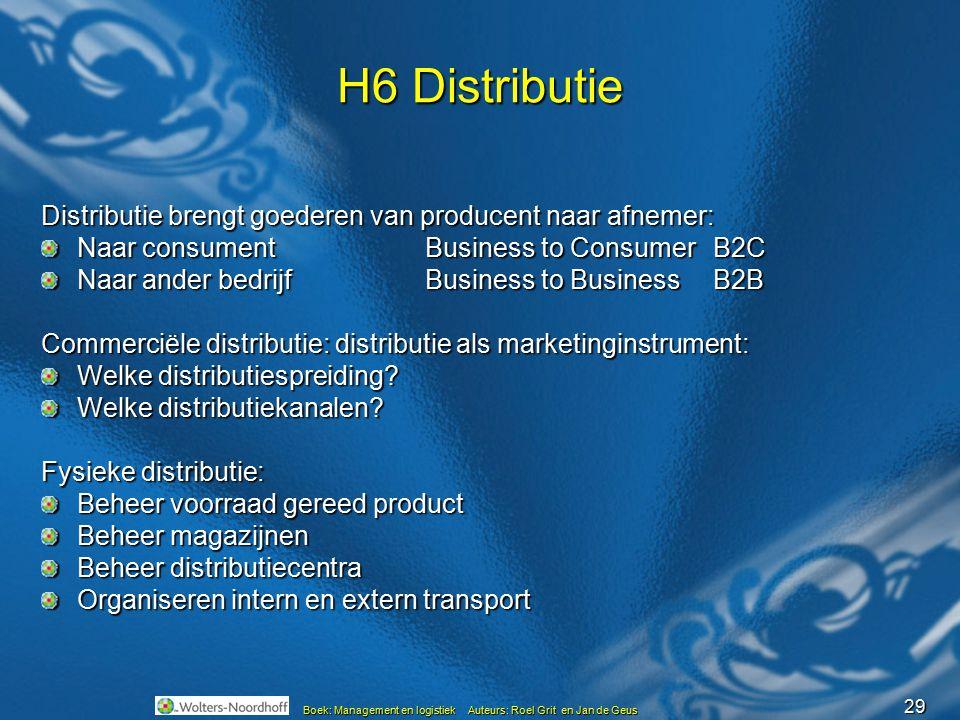 H6 Distributie Distributie brengt goederen van producent naar afnemer: