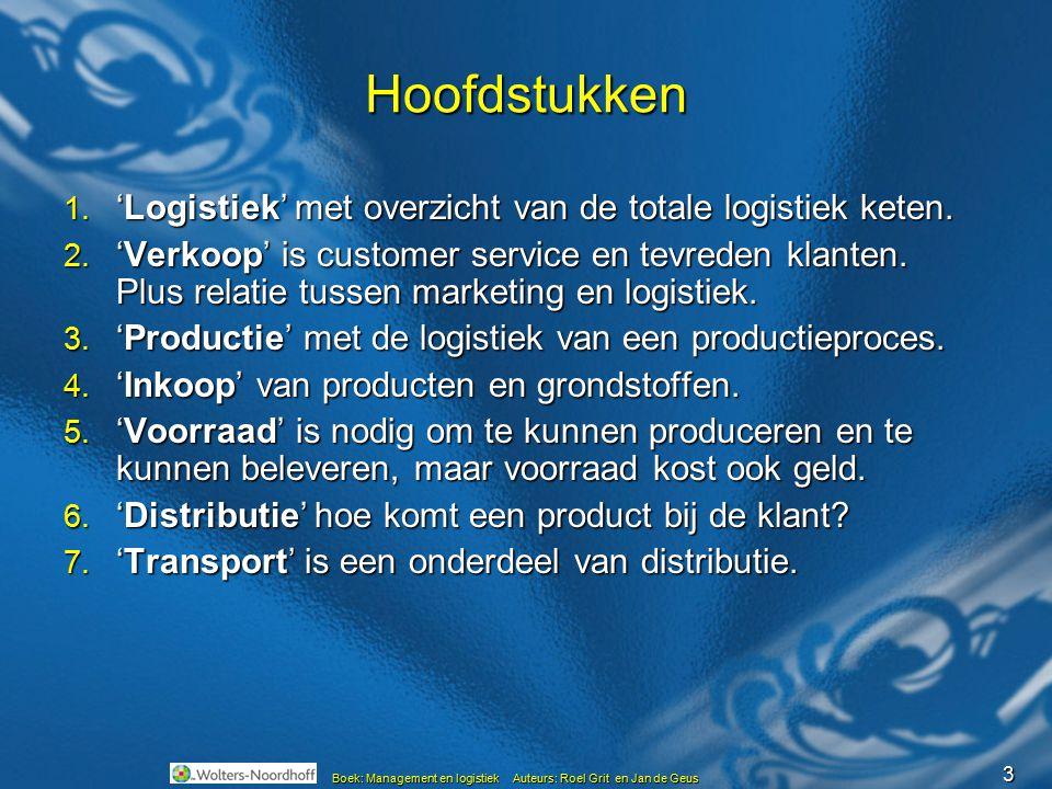 Hoofdstukken 'Logistiek' met overzicht van de totale logistiek keten.
