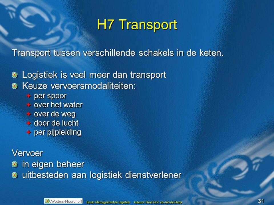 H7 Transport Transport tussen verschillende schakels in de keten.