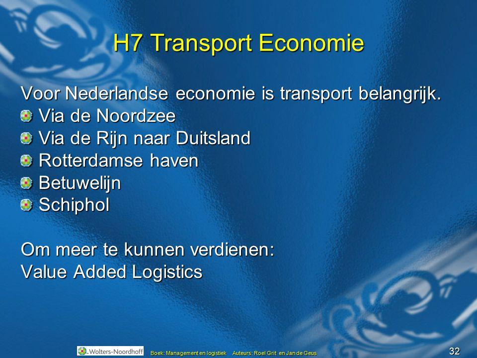 H7 Transport Economie Voor Nederlandse economie is transport belangrijk. Via de Noordzee. Via de Rijn naar Duitsland.