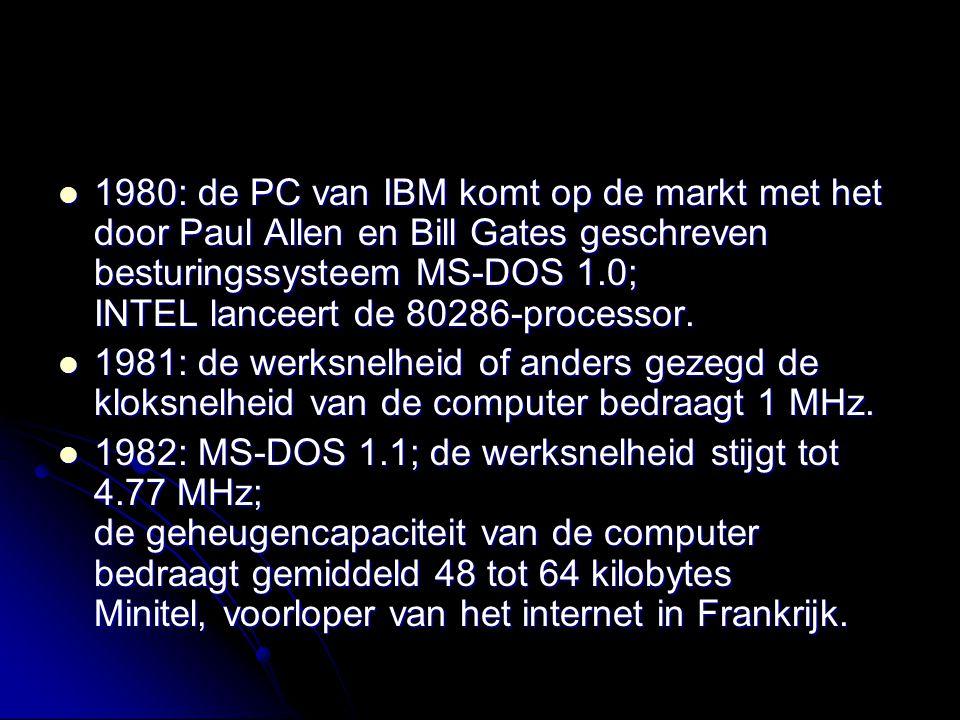 1980: de PC van IBM komt op de markt met het door Paul Allen en Bill Gates geschreven besturingssysteem MS-DOS 1.0; INTEL lanceert de 80286-processor.