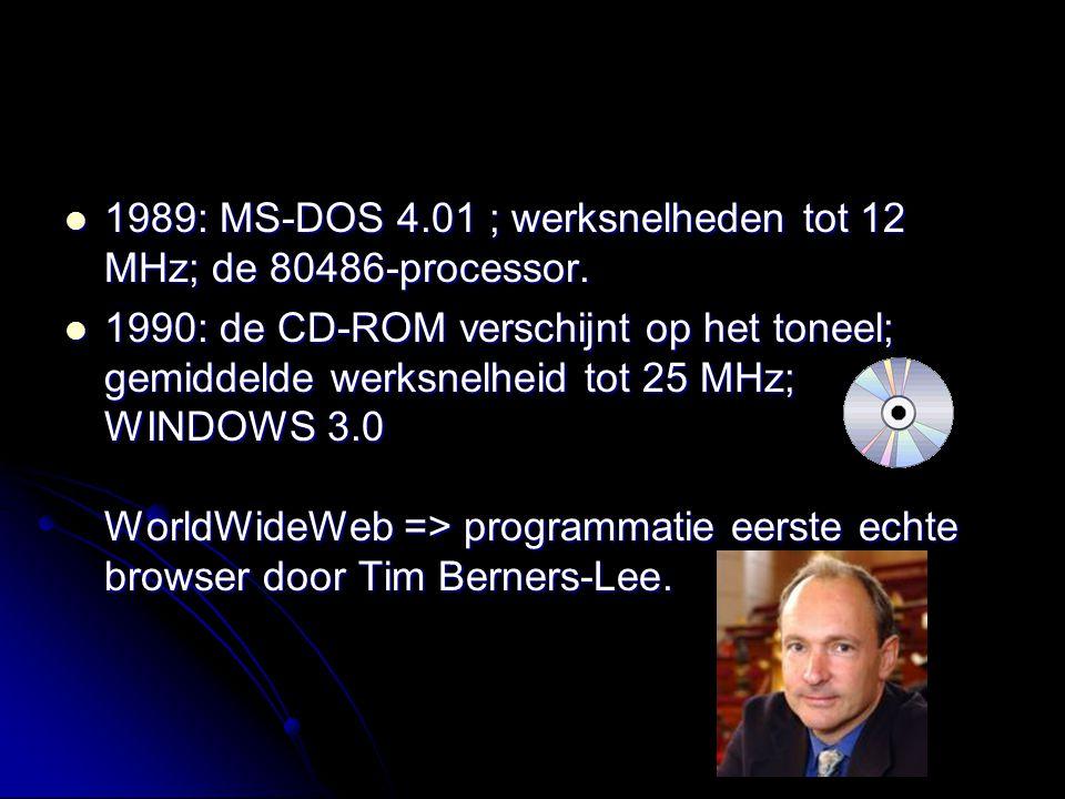 1989: MS-DOS 4.01 ; werksnelheden tot 12 MHz; de 80486-processor.