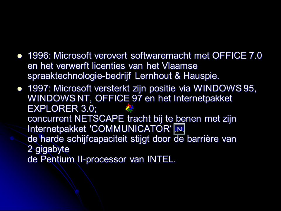 1996: Microsoft verovert softwaremacht met OFFICE 7