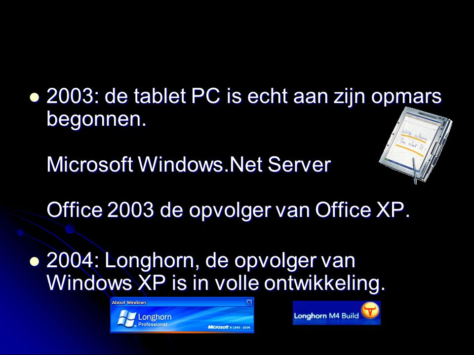 2003: de tablet PC is echt aan zijn opmars begonnen. Microsoft Windows