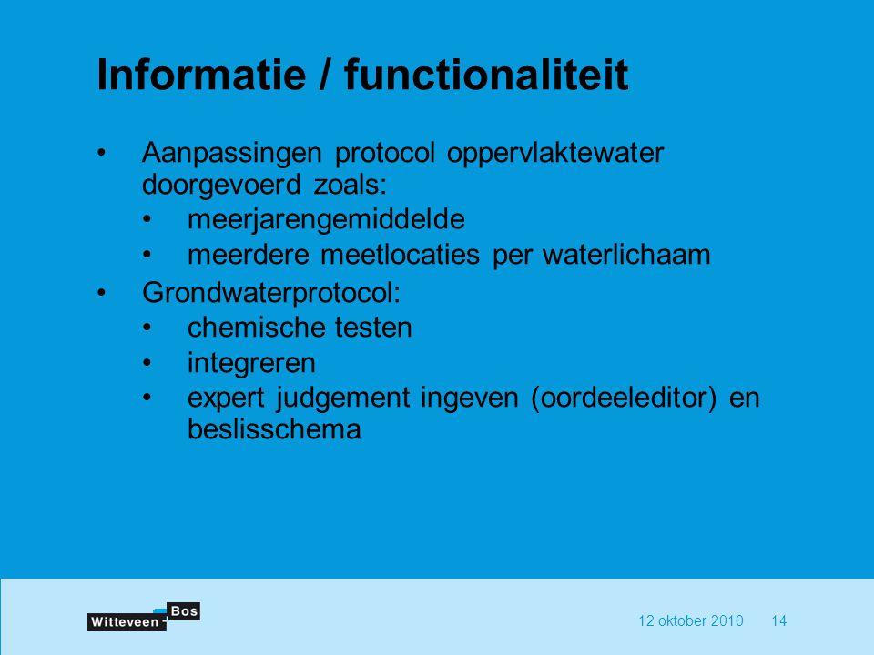 Informatie / functionaliteit