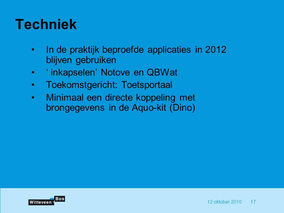 Techniek In de praktijk beproefde applicaties in 2012 blijven gebruiken. ' inkapselen' Notove en QBWat.
