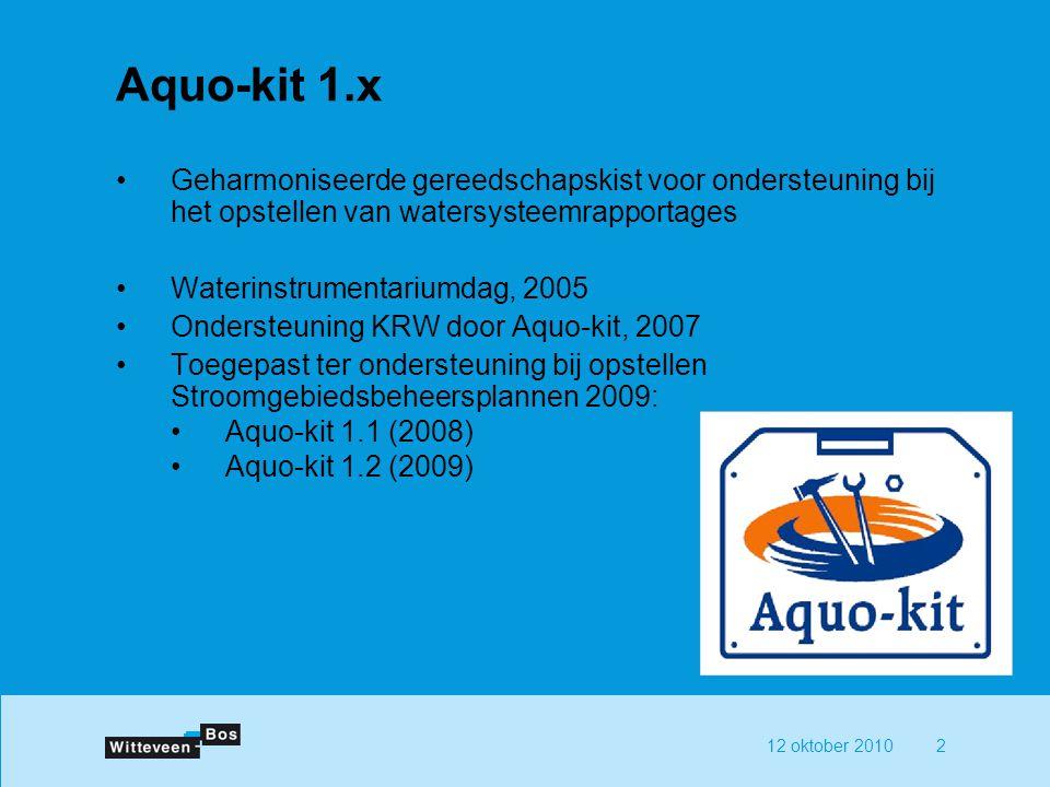 Aquo-kit 1.x Geharmoniseerde gereedschapskist voor ondersteuning bij het opstellen van watersysteemrapportages.