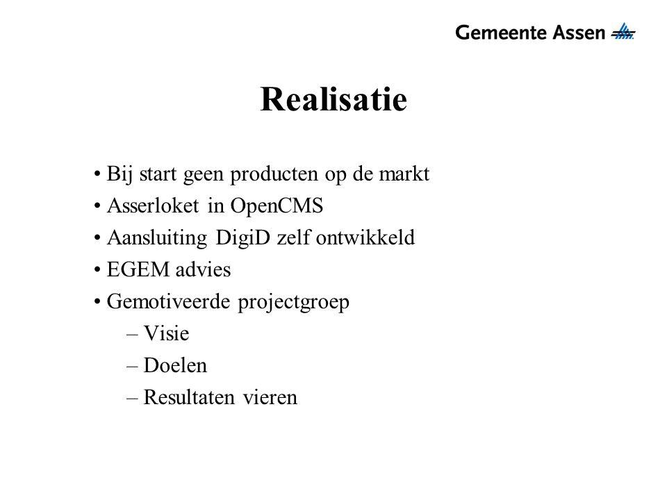 Realisatie Bij start geen producten op de markt Asserloket in OpenCMS