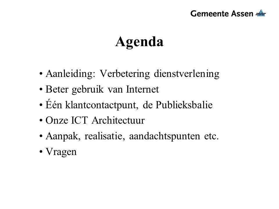 Agenda Aanleiding: Verbetering dienstverlening