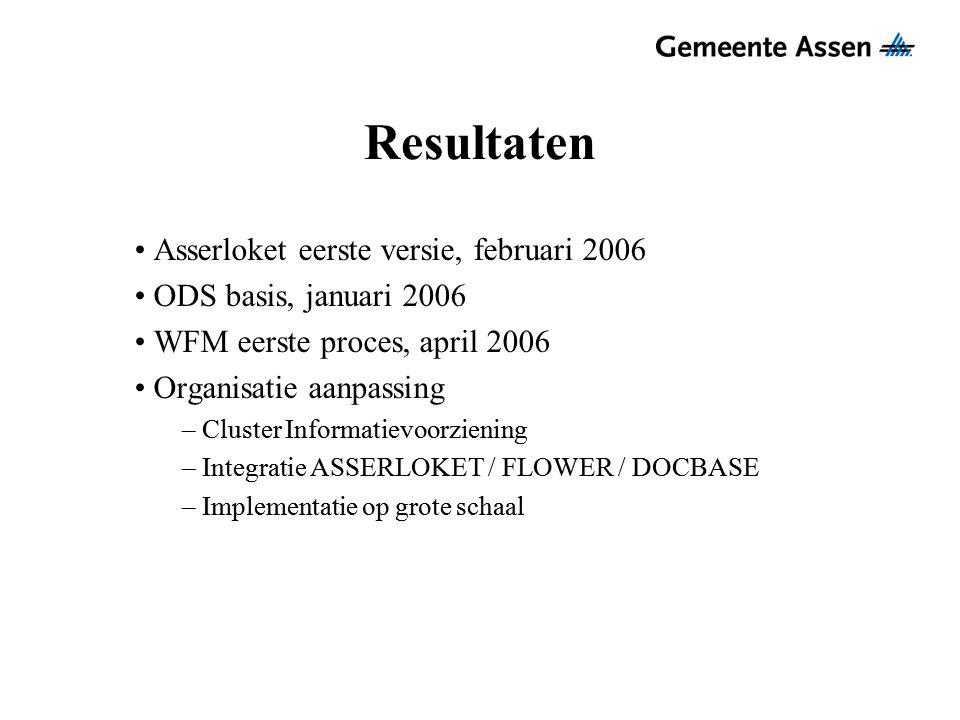 Resultaten Asserloket eerste versie, februari 2006