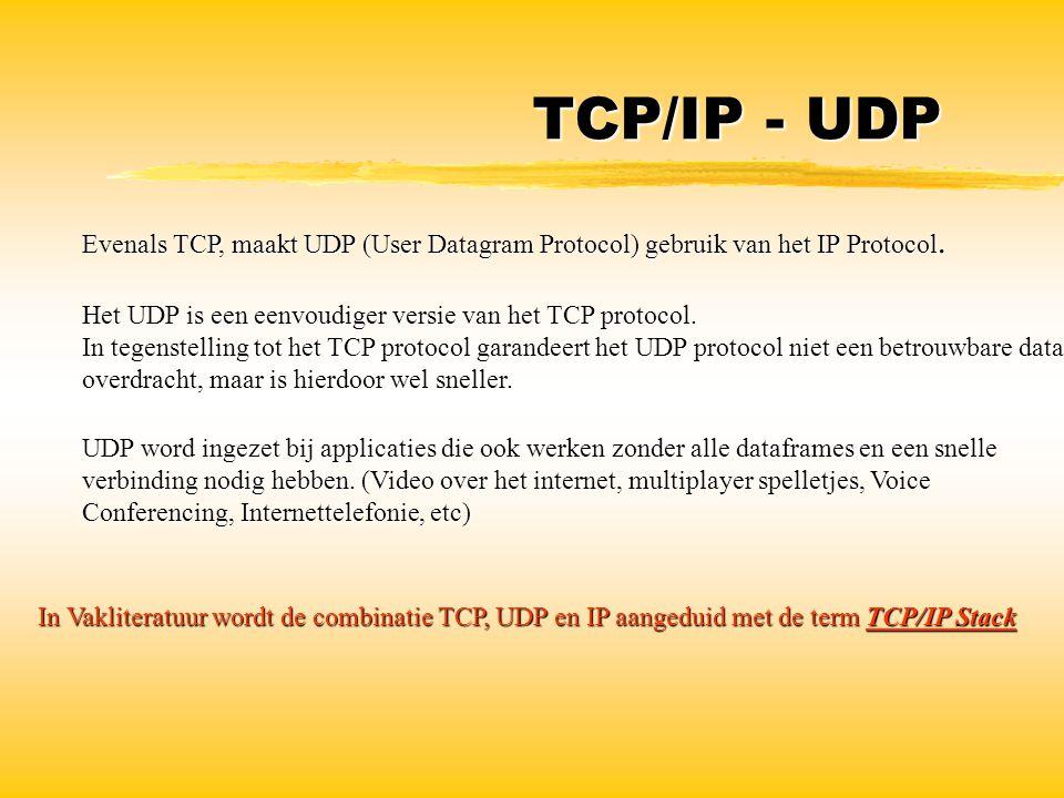 TCP/IP - UDP Evenals TCP, maakt UDP (User Datagram Protocol) gebruik van het IP Protocol. Het UDP is een eenvoudiger versie van het TCP protocol.
