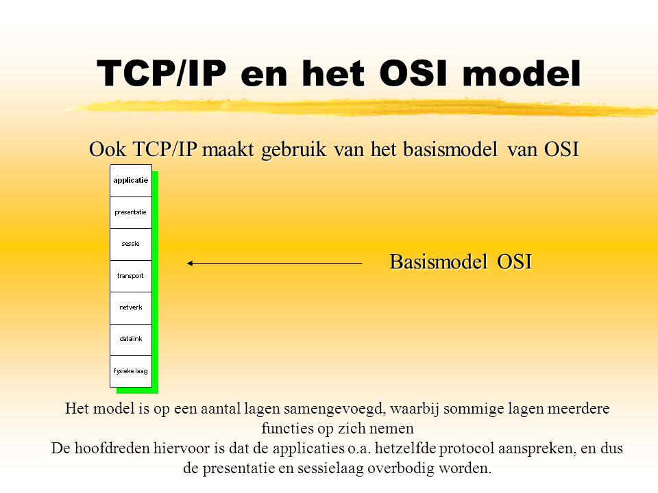 TCP/IP en het OSI model Ook TCP/IP maakt gebruik van het basismodel van OSI. Basismodel OSI.