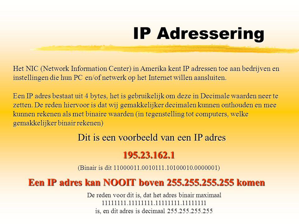IP Adressering Dit is een voorbeeld van een IP adres 195.23.162.1