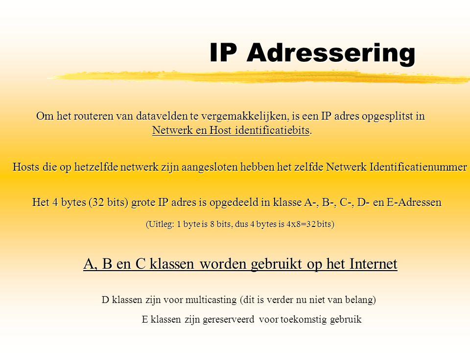 IP Adressering A, B en C klassen worden gebruikt op het Internet