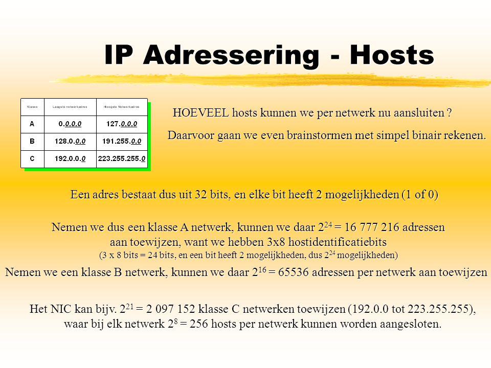 IP Adressering - Hosts HOEVEEL hosts kunnen we per netwerk nu aansluiten Daarvoor gaan we even brainstormen met simpel binair rekenen.