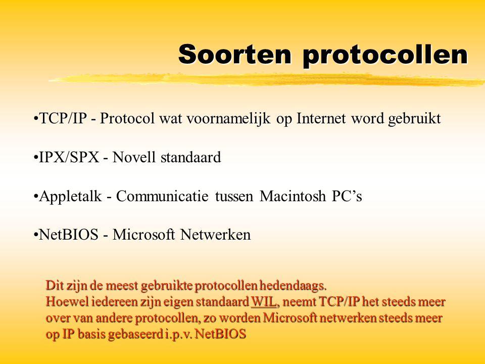 Soorten protocollen TCP/IP - Protocol wat voornamelijk op Internet word gebruikt. IPX/SPX - Novell standaard.