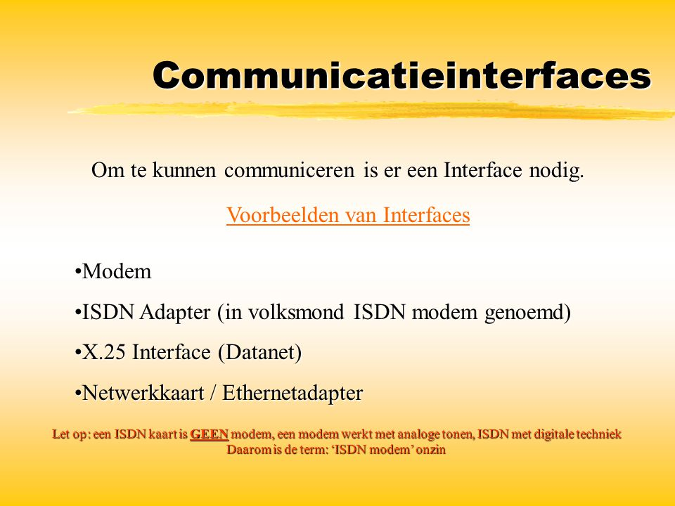 Communicatieinterfaces