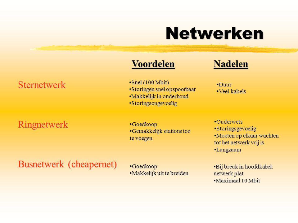 Netwerken Voordelen Nadelen Sternetwerk Ringnetwerk
