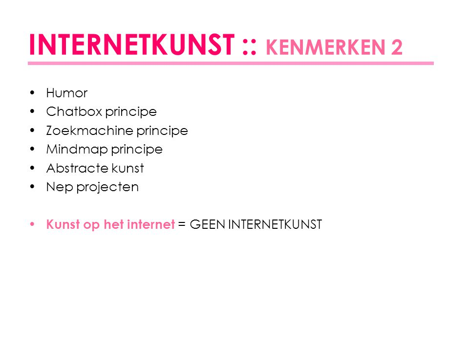 INTERNETKUNST :: KENMERKEN 2