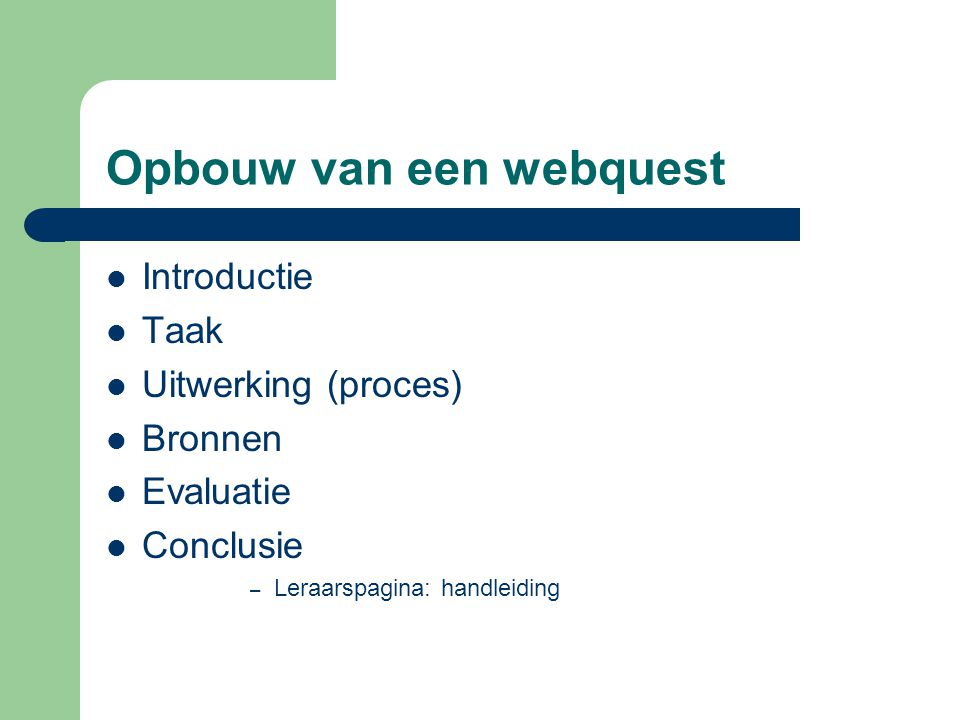 Opbouw van een webquest