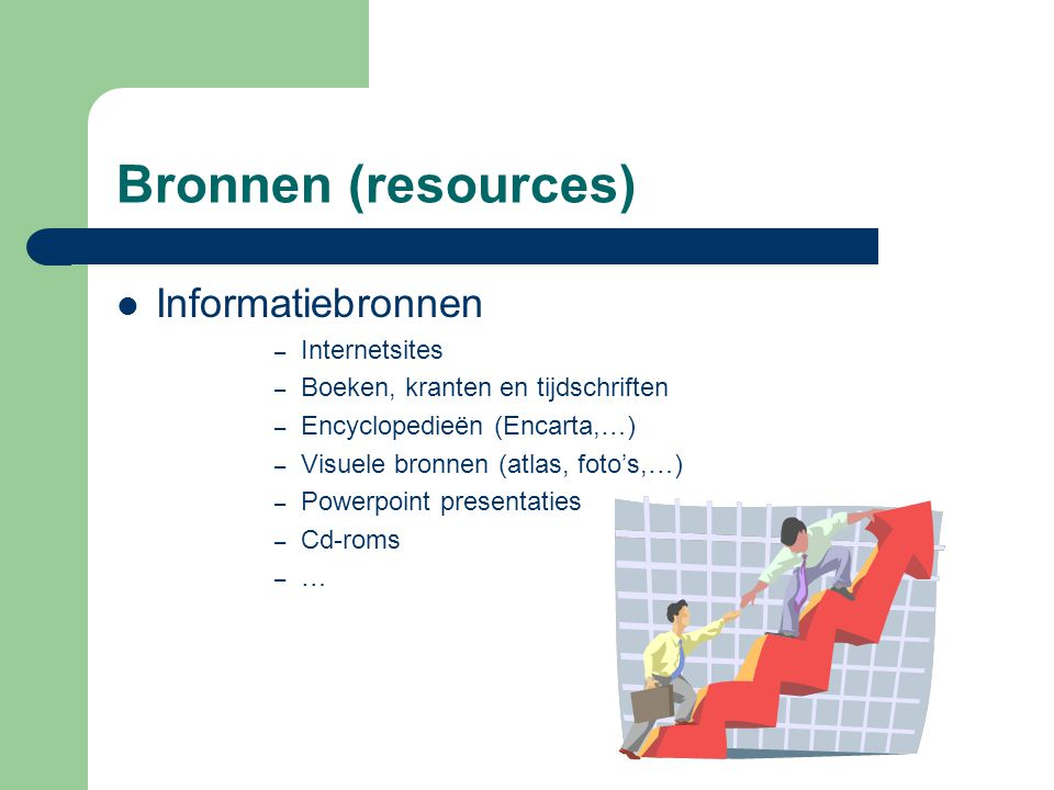 Bronnen (resources) Informatiebronnen Internetsites