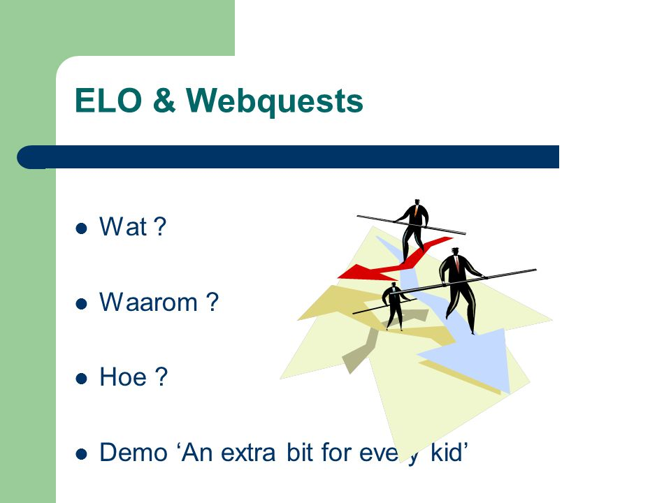 ELO & Webquests Wat Waarom Hoe Demo 'An extra bit for every kid'