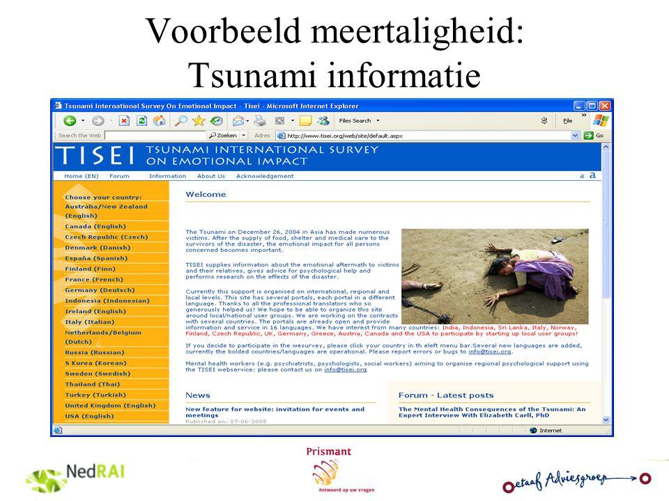 Voorbeeld meertaligheid: Tsunami informatie
