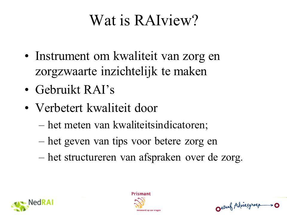 Wat is RAIview Instrument om kwaliteit van zorg en zorgzwaarte inzichtelijk te maken. Gebruikt RAI's.