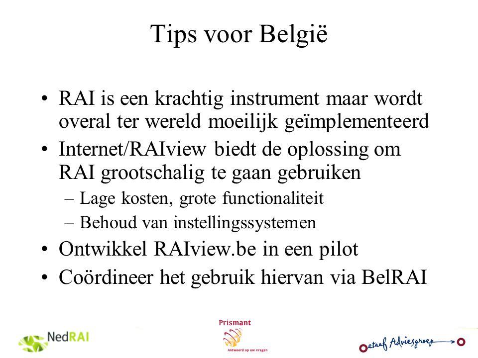 Tips voor België RAI is een krachtig instrument maar wordt overal ter wereld moeilijk geïmplementeerd.