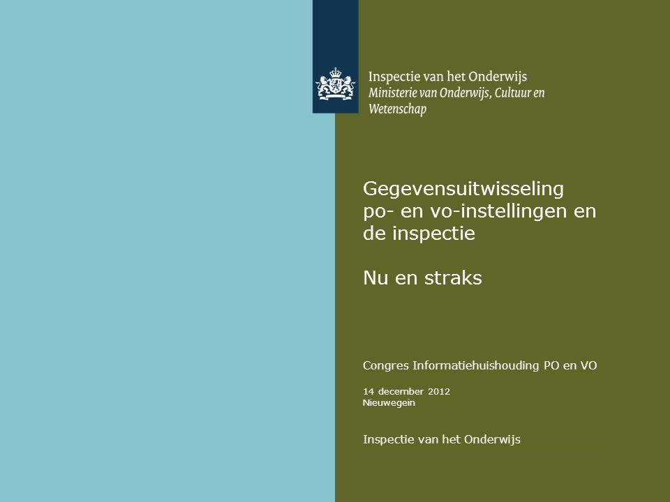 Gegevensuitwisseling po- en vo-instellingen en de inspectie Nu en straks