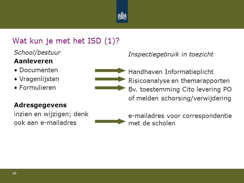 Wat kun je met het ISD (1) School/bestuur