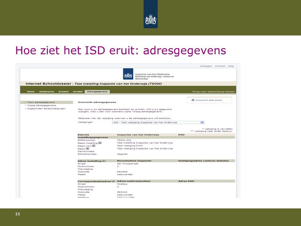 Hoe ziet het ISD eruit: adresgegevens