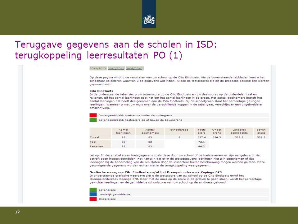 Teruggave gegevens aan de scholen in ISD: terugkoppeling leerresultaten PO (1)