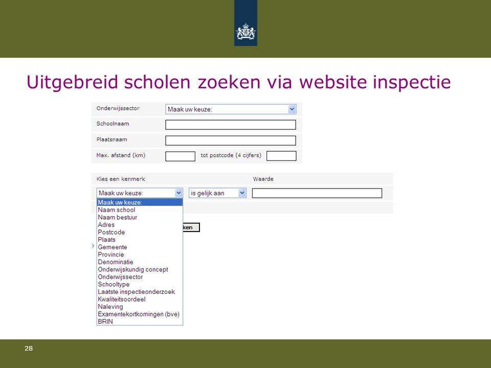 Uitgebreid scholen zoeken via website inspectie