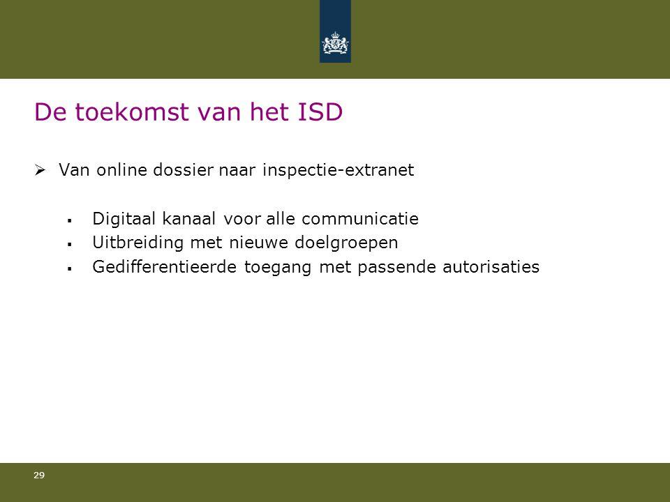 De toekomst van het ISD Van online dossier naar inspectie-extranet