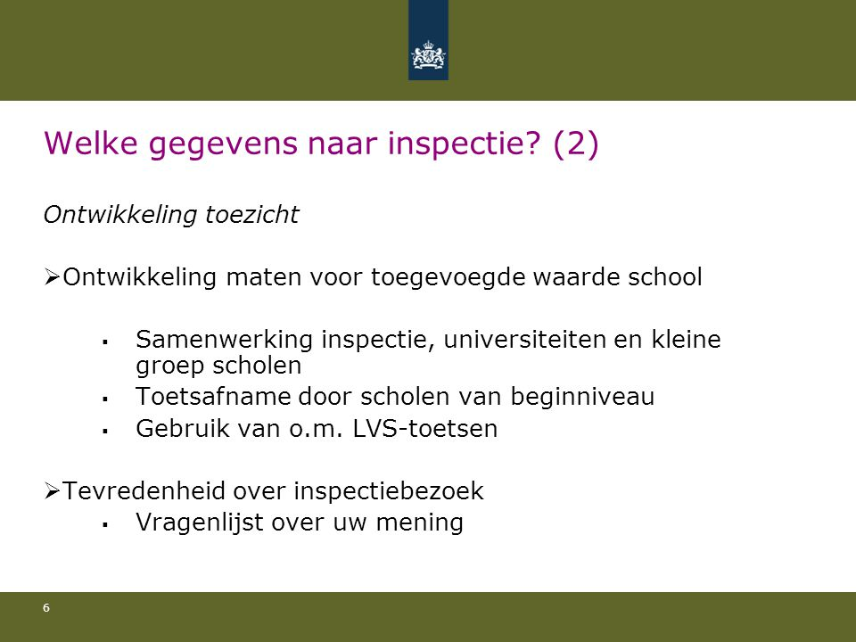 Welke gegevens naar inspectie (2)