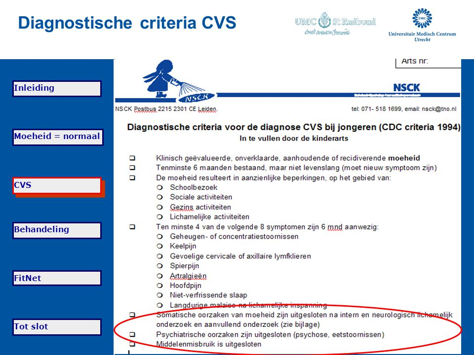 Diagnostische criteria CVS
