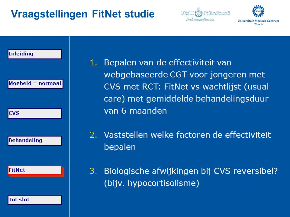 Vraagstellingen FitNet studie